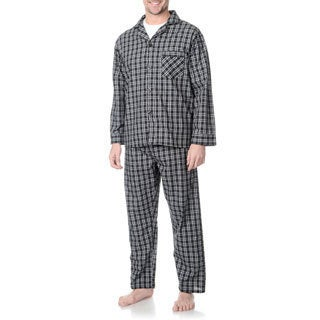 Hanes Men's Big and Tall Black Plaid Woven Pajama Set