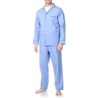 Hanes Men's Big and Tall Blue Woven Pajama Set