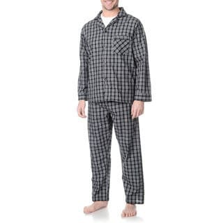 Hanes Men's Black Plaid Woven Pajama Set