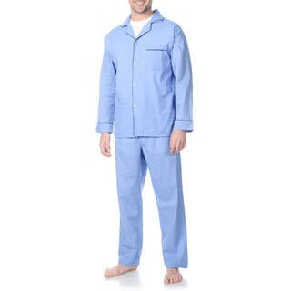 Hanes Men's Light Blue Woven Pajama Set