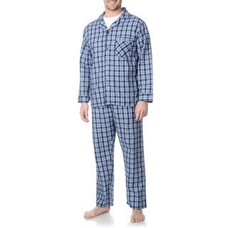 Hanes Men's Blue Plaid Woven Pajama Set