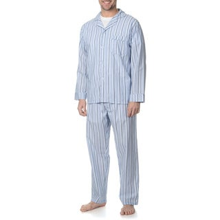 Hanes Men's Blue Striped Woven Pajama Set
