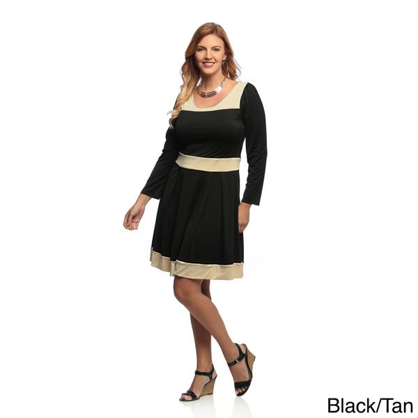 Shop Evanese Womens Plus Size Two Tone Long Sleeve Dress Free