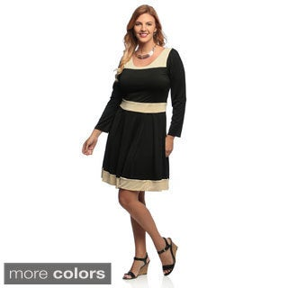 Evanese Women's Plus Size Two-tone Long Sleeve Dress