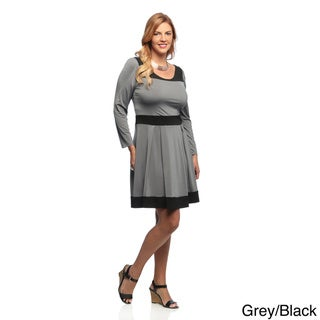 Evanese Women's Plus Size Two-tone Long Sleeve Dress