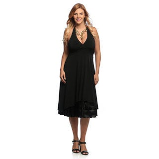 Evanese Women's Plus Size Black Halter Neck Dress