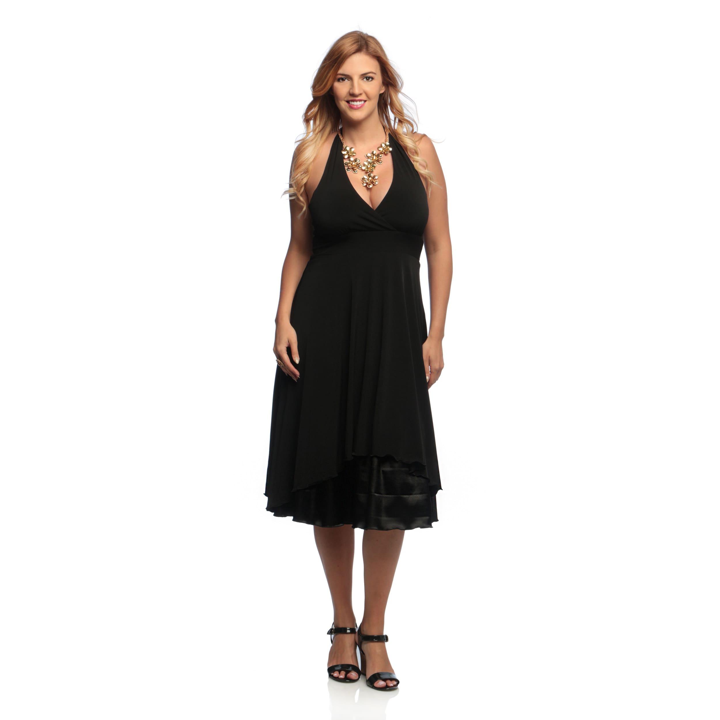 Evanese Women\'s Plus Size Black Halter Neck Dress