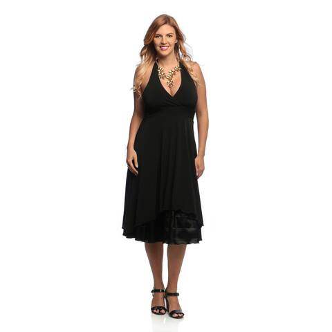 Evanese Women's Plus Size Black Halter Neck Dress