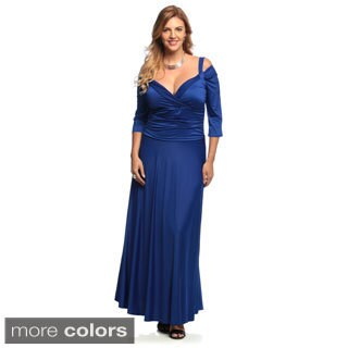 Evanese Women's Plus Size Shiny Venezia Long Evening Dress