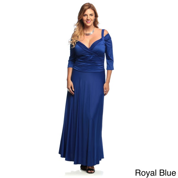 Evanese Women's Plus Size Shiny Venezia Long Evening Dress