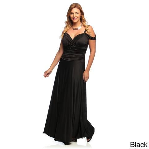 Evanese Women's Plus Size Shiny Venezia Long Dress with Shoulder Bands