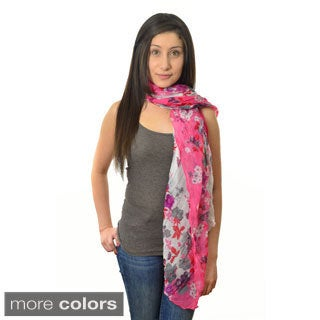 LA77 Women's Floral / Branch Print Crinkled Scarf