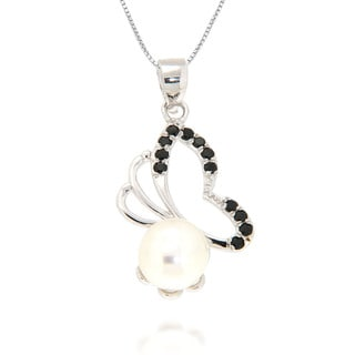 Pearlz Ocean White Freshwater Pearl and Black Spinel Butterfly Pendant Necklace