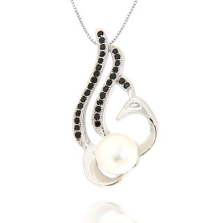 Pearlz Ocean White Freshwater Pearl and Black Spinel Pendant Necklace