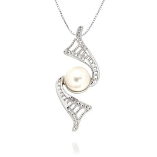 Pearlz Ocean White Freshwater Pearl and White Topaz Swirl Pendant