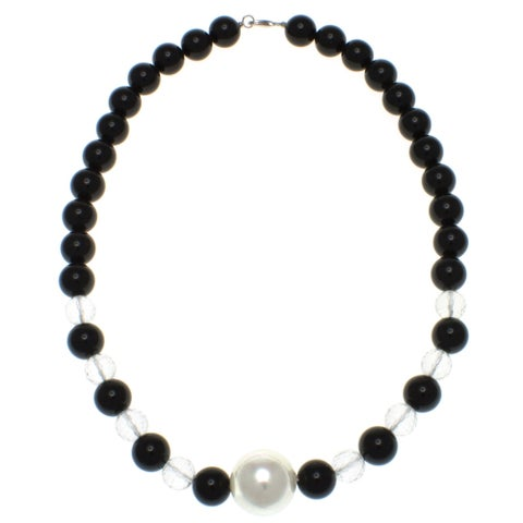 Pearlz Ocean Black Agate and White Crystal Necklace Jewelry for Womens
