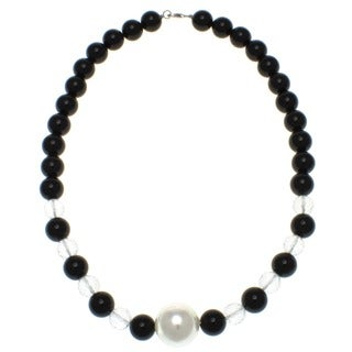 Pearlz Ocean Black Agate and White Crystal Necklace