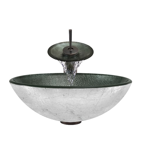 Polaris Sinks Silver Mesh Oil-rubbed Bronze Glass Vessel Sink and Faucet