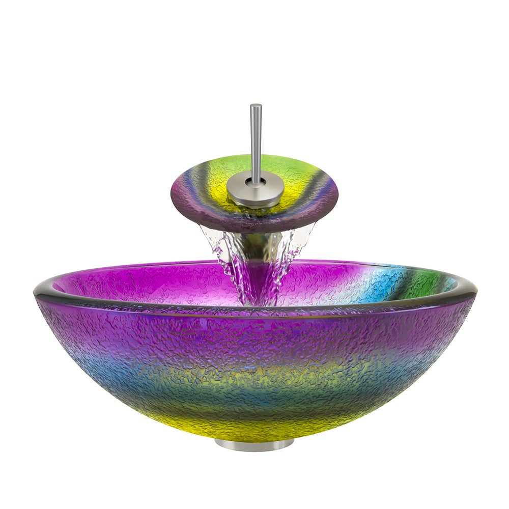 Polaris Brushed Nickel/ Rainbow Frosted Glass Vessel Sink...