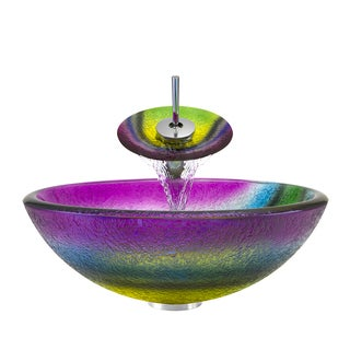 Polaris Sinks Chrome/ Rainbow Frosted Glass Vessel Sink and Faucet