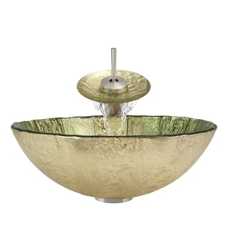 Polaris Sinks Brushed Nickel/ Gold Foil Glass Vessel Sink and Faucet