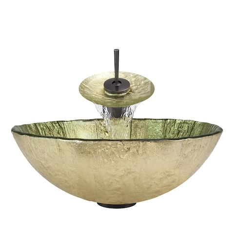 Polaris Sinks Oil-rubbed Bronze/ Gold Foil Glass Vessel Sink and Faucet