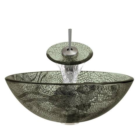 Polaris Sinks Brushed Nickel/ Cracked Vineyard Glass Vessel Sink and Faucet