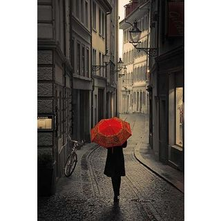 Stefano Corso 'Red Rain' Canvas Art