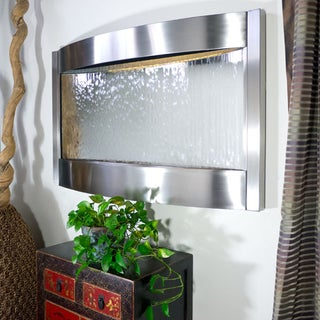 Brushed Stainless Steel with Silver Contempo Luna Horizontal Mirror