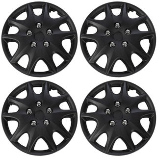 WCA 1009 15MBK Design Hub Cap ABS Black 15-inch (Set of Four)
