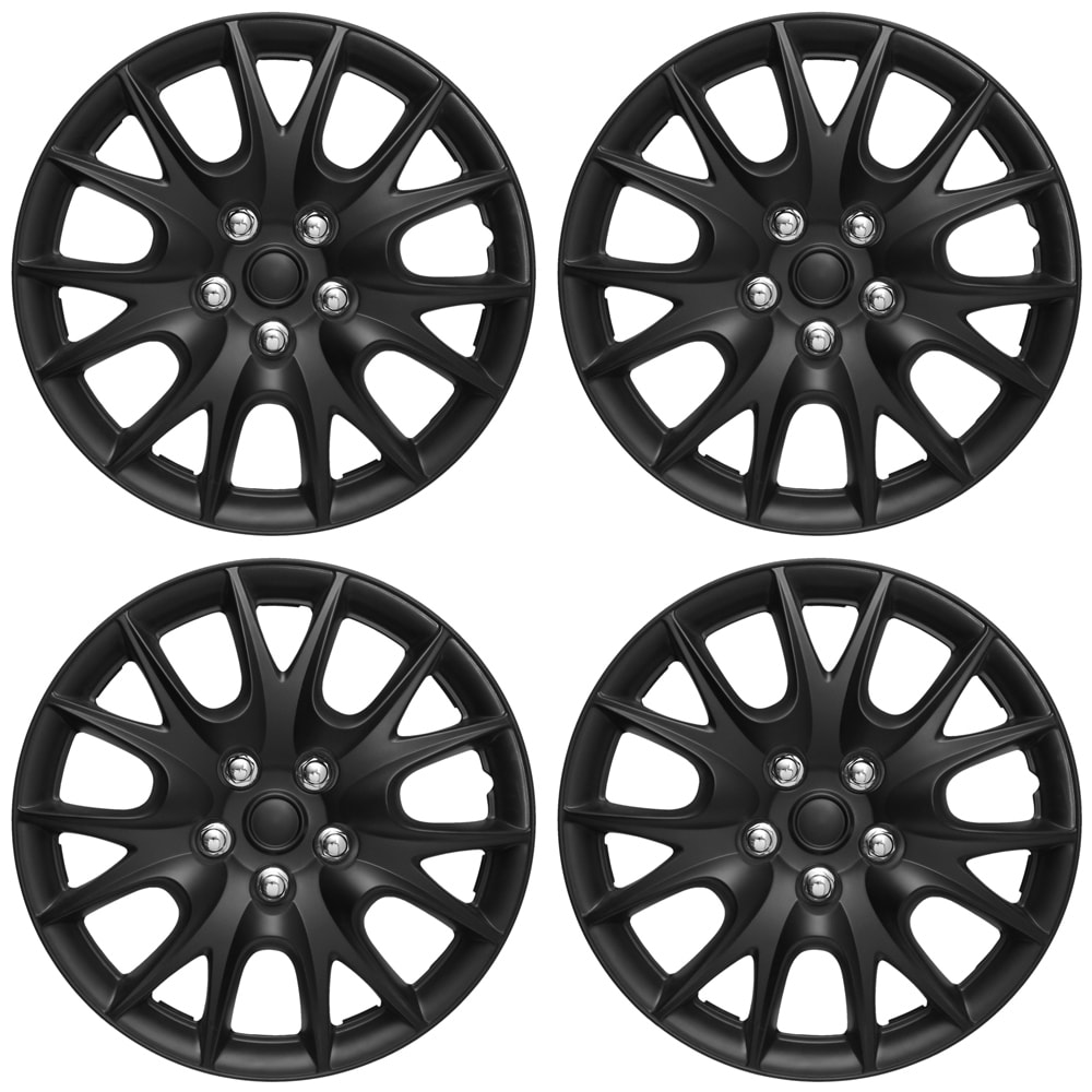 Oxgord ABS Matte Black 15-inch Hub Caps (Set of 4)