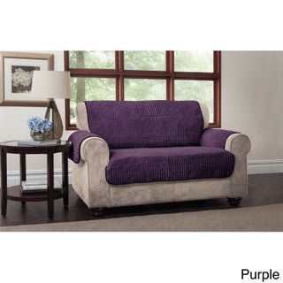 Innovative Textile Solutions Puffs Plush Furniture Protector Loveseat Slipcover (Option: Purple)