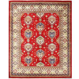 Herat Oriental Afghan Hand-knotted Kazak Red/ Ivory Wool Rug (8' x 9'7)
