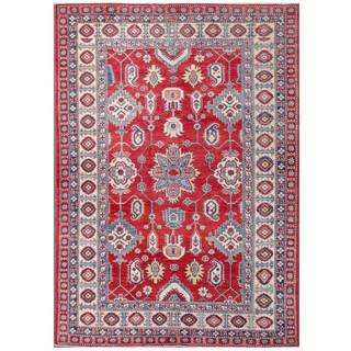 Herat Oriental Afghan Hand-knotted Kazak Red/ Blue Wool Rug (7'1 x 9'9)