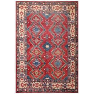 Herat Oriental Afghan Hand-knotted Kazak Red/ Navy Wool Rug (6'6 x 9'6)