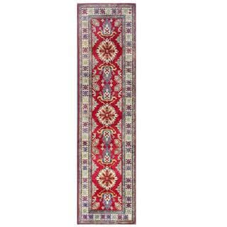 Herat Oriental Afghan Hand-knotted Kazak Red/ Ivory Wool Rug (2'8 x 10'1)