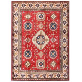 Herat Oriental Afghan Hand-knotted Kazak Red/ Ivory Wool Rug (7'2 x 9'11)