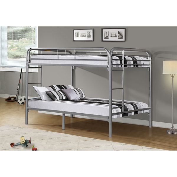 Shop Silver Metal Full Full Bunk Bed Free Shipping