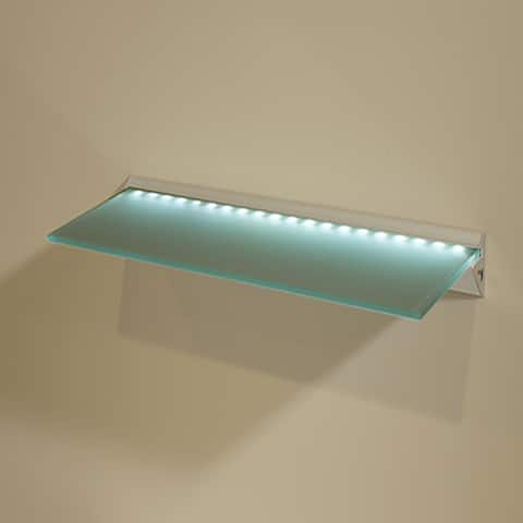 "Capri LED 8"" x 24"" Opaque Glass Lighted Shelf Kit"