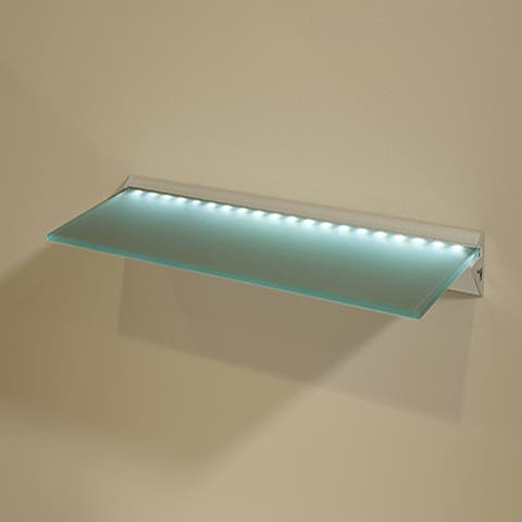 "Capri LED 8"" x 36"" Opaque Glass Lighted Shelf Kit"