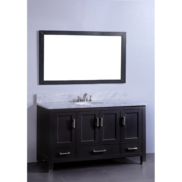 Marble Top 60 Inch Single Sink Espresso Bathroom Vanity With Matching Framed Mirror Free