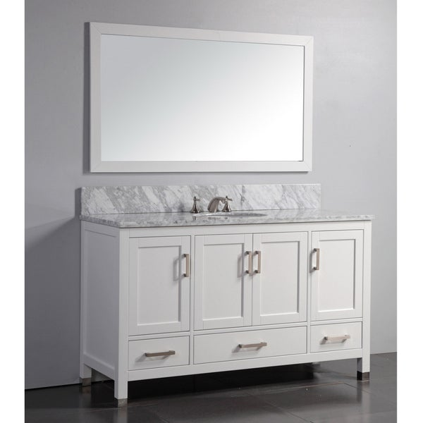 Marble top 60 inch single sink white bathroom vanity with for 60 inch framed mirror