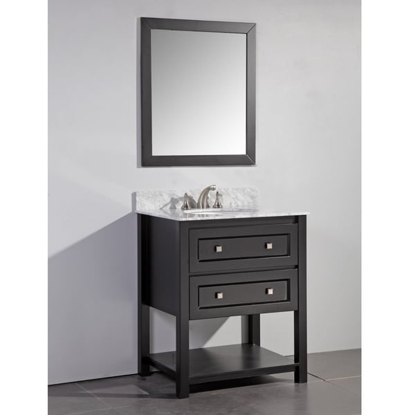 Marble Top 30 Inch Single Sink Espresso Bathroom Vanity With Matching Framed Mirror Free