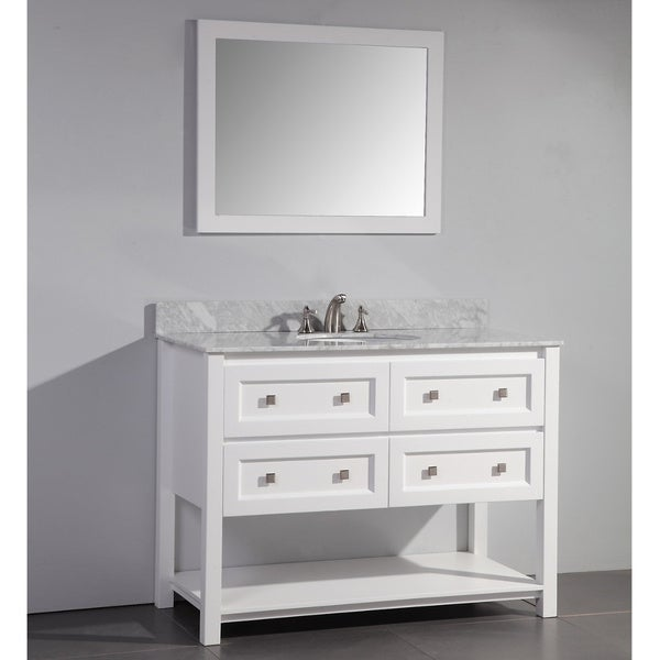Shop marble top 48 inch single sink white bathroom vanity for 48 inch mirrored bathroom vanity