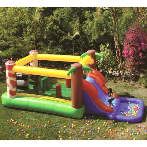 JumpOrange Waterfall Inflatable Bounce House, Commercial PVC Vinyl, with Blower