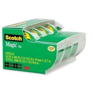 "Magic Tape & Refillable Dispenser, 3/4"" x 300"", 1"" Core, 4/Pack"