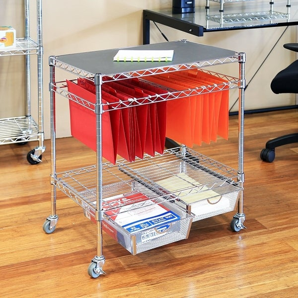 Seville Classics 3 Tier Mobile Letter/Legal Office File U0026amp; Utility Cart  With
