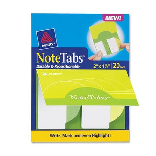"""Avery Note Tabs, 2"""" x 1.5"""", Citrus Yellow & Green, 20/Pack (AVE16386)"""