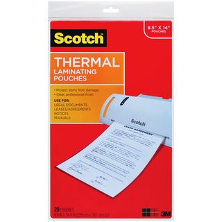 "Scotch Thermal Laminating Pouches, Clear, 8.5"" x 14"" Legal Size (Pack of 20)"