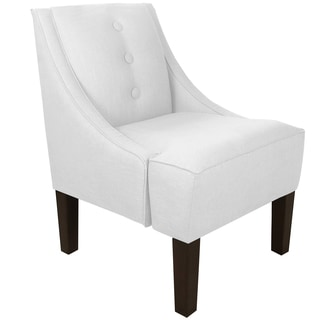 Skyline Furniture Three Button Swoop Arm Chair in Twill White